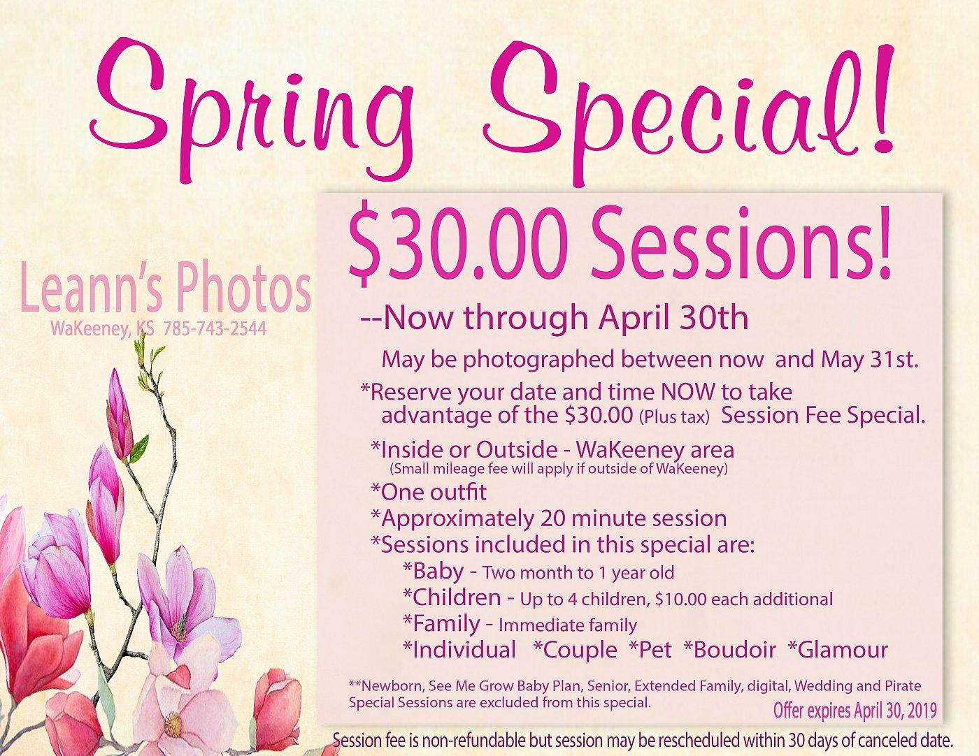 Spring $30.00 Sessions!